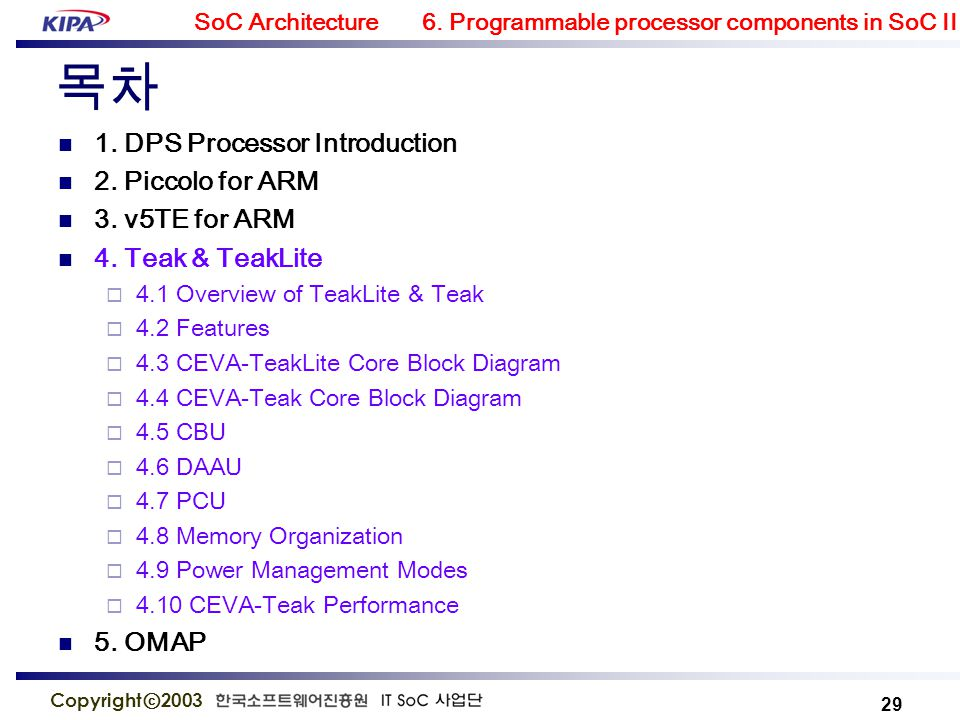 omap  soc architecture 6  programmable processor components in soc ii 29  copyright ⓒ 2003 목차 1