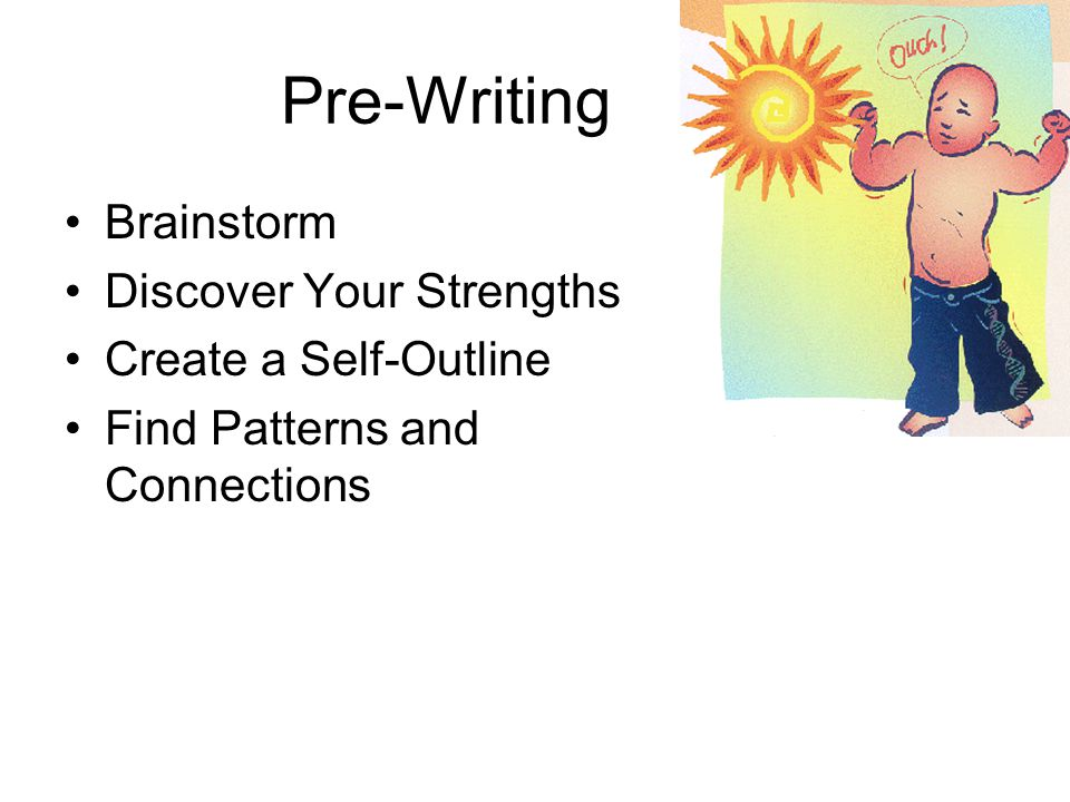 Pre-Writing Brainstorm Discover Your Strengths Create a Self-Outline Find Patterns and Connections