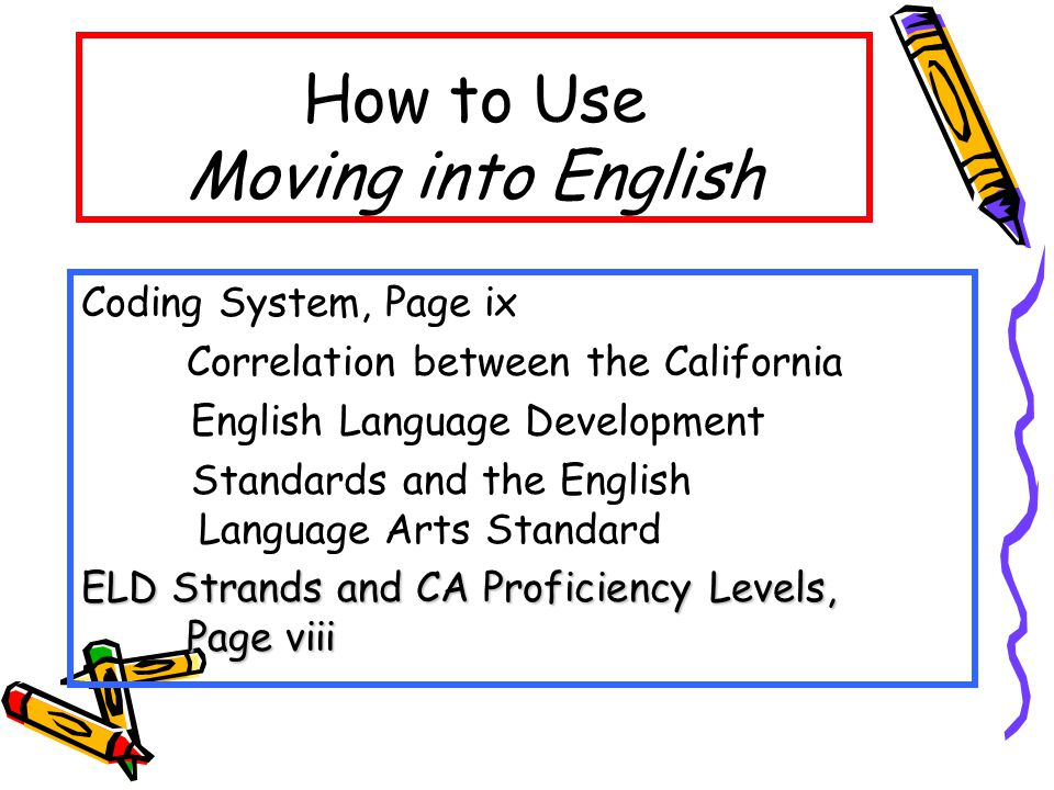How to Use Moving into English Coding System, Page ix Correlation between the California English Language Development Standards and the English Language Arts Standard ELD Strands and CA Proficiency Levels, Page viii