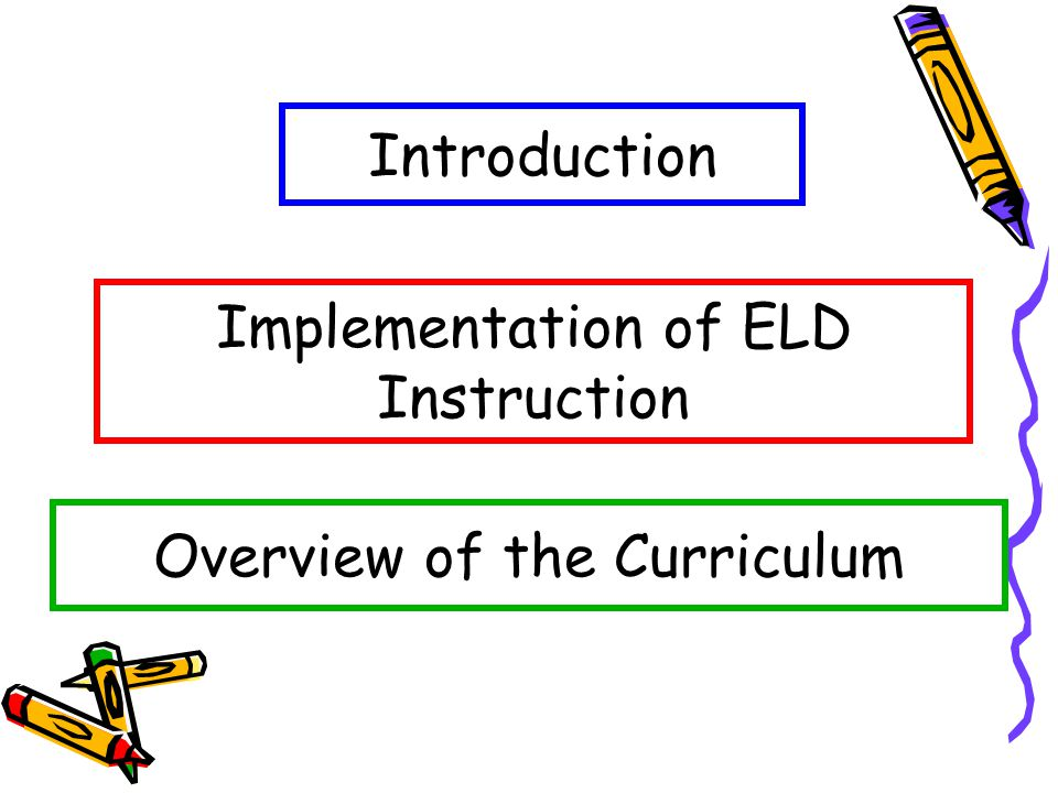 Introduction Implementation of ELD Instruction Overview of the Curriculum