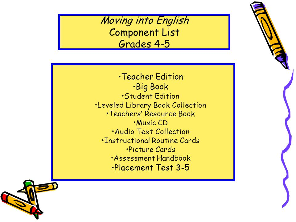 Teacher Edition Big Book Student Edition Leveled Library Book Collection Teachers' Resource Book Music CD Audio Text Collection Instructional Routine Cards Picture Cards Assessment Handbook Placement Test 3-5 Moving into English Component List Grades 4-5