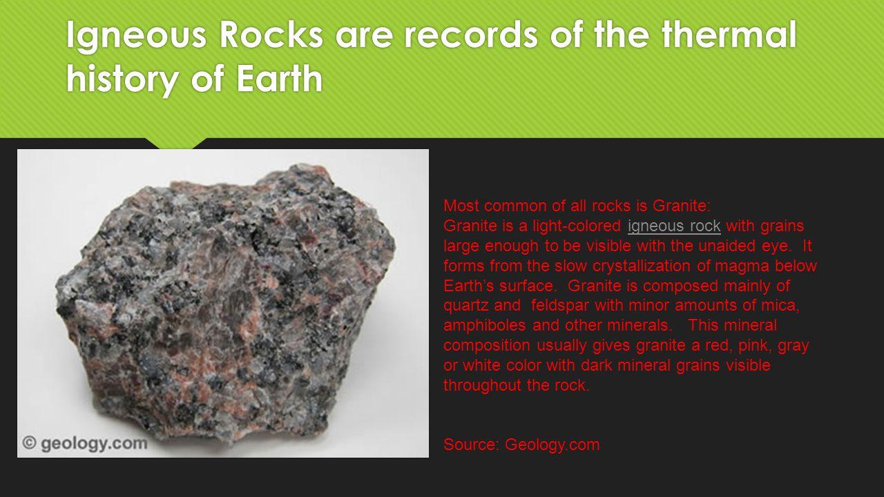 Week Five: Igneous Rock Granite, Basalt, Obsidian, Pumice