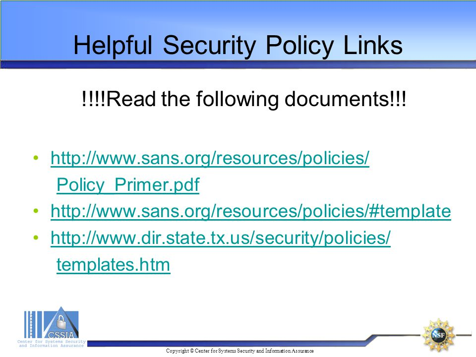 Copyright © Center for Systems Security and Information Assurance ...