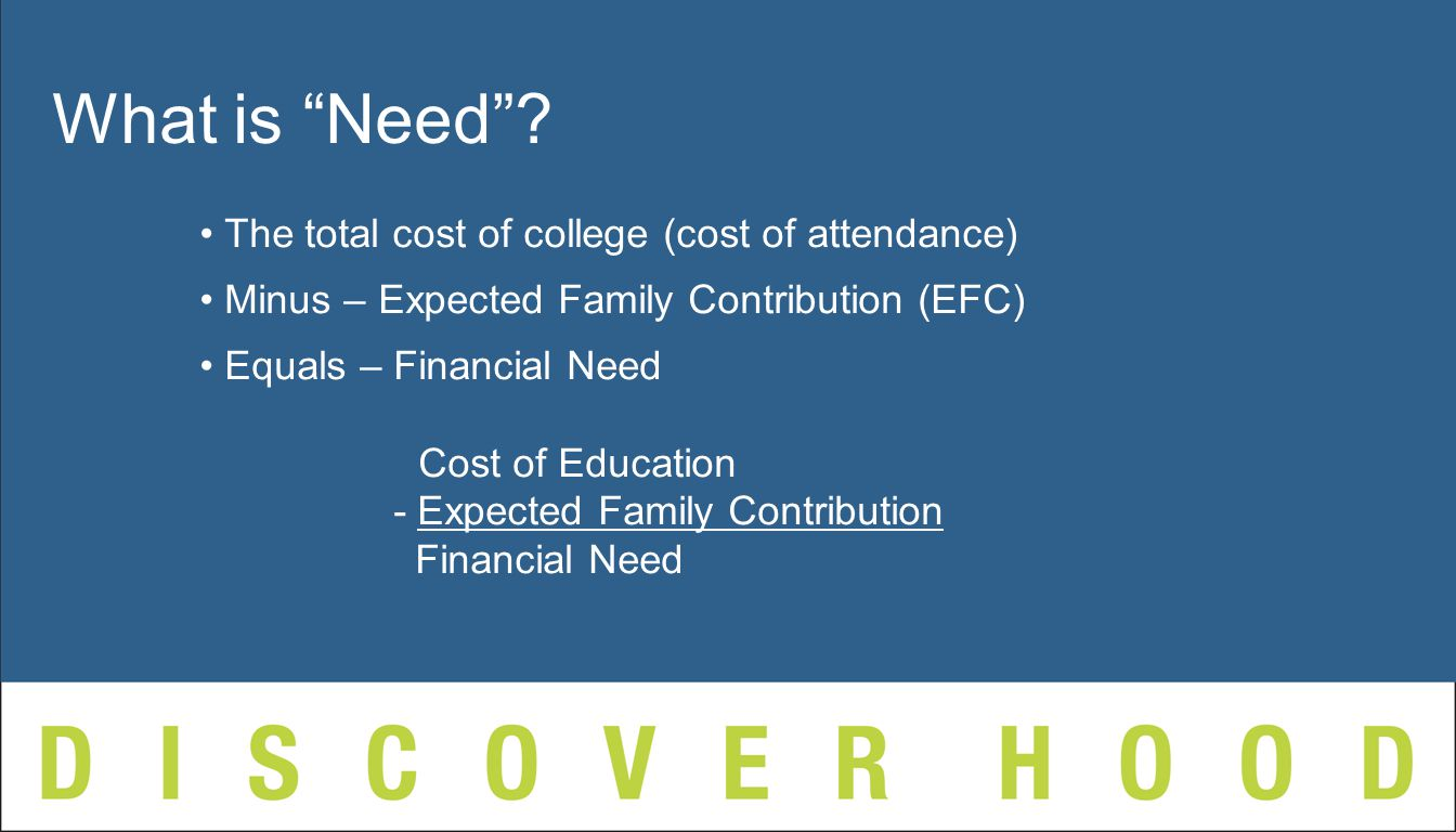 The total cost of college (cost of attendance) Minus – Expected Family Contribution (EFC) Equals – Financial Need Cost of Education - Expected Family Contribution Financial Need What is Need