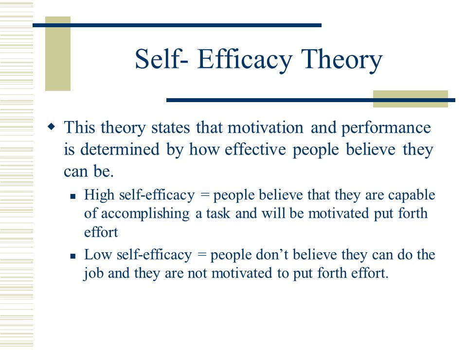 Self- Efficacy Theory  This theory states that motivation and performance is determined by how effective people believe they can be.