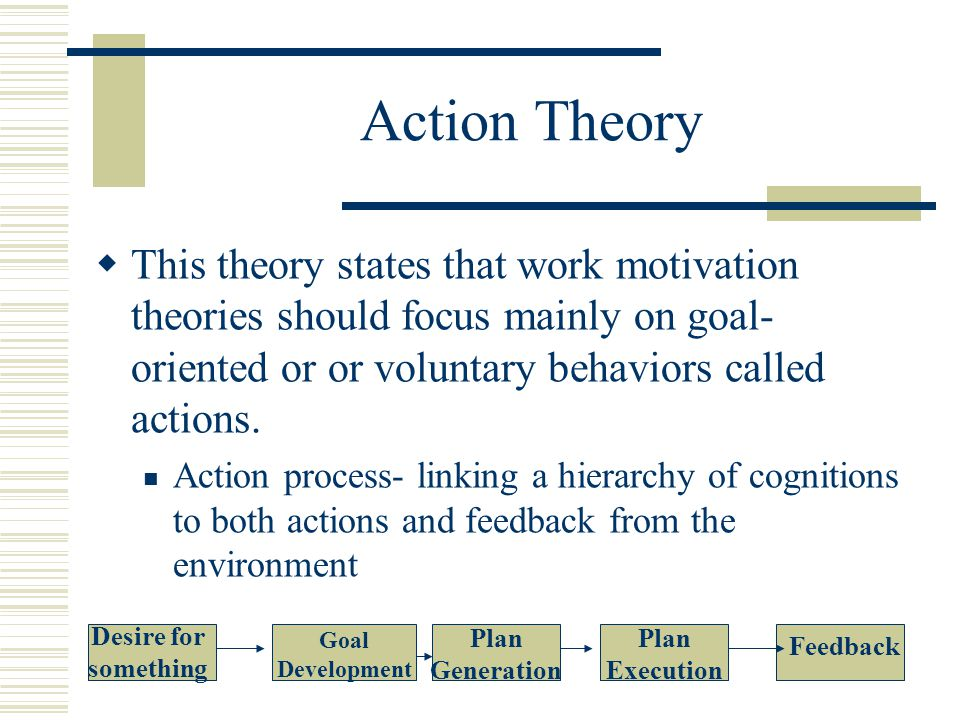 Action Theory  This theory states that work motivation theories should focus mainly on goal- oriented or or voluntary behaviors called actions.