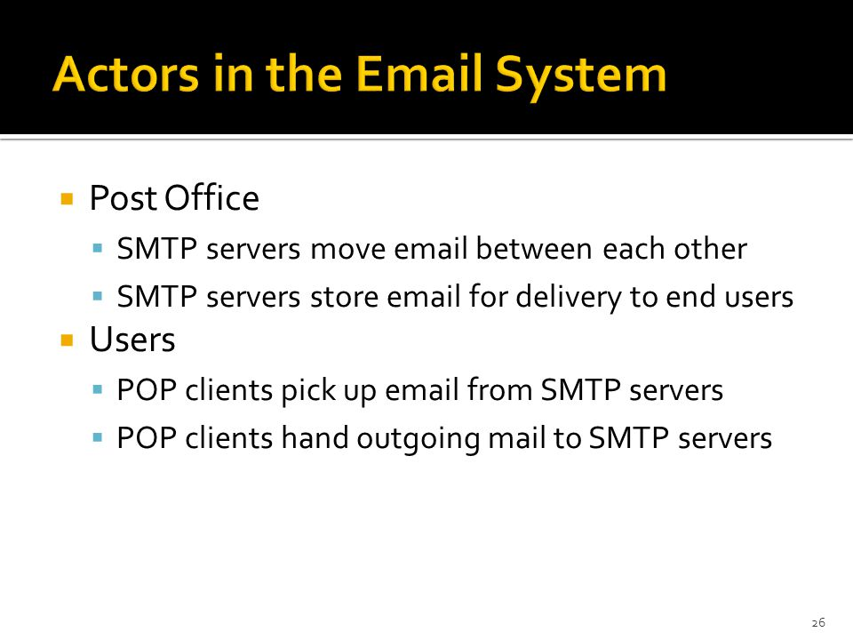  Post Office  SMTP servers move  between each other  SMTP servers store  for delivery to end users  Users  POP clients pick up  from SMTP servers  POP clients hand outgoing mail to SMTP servers 26