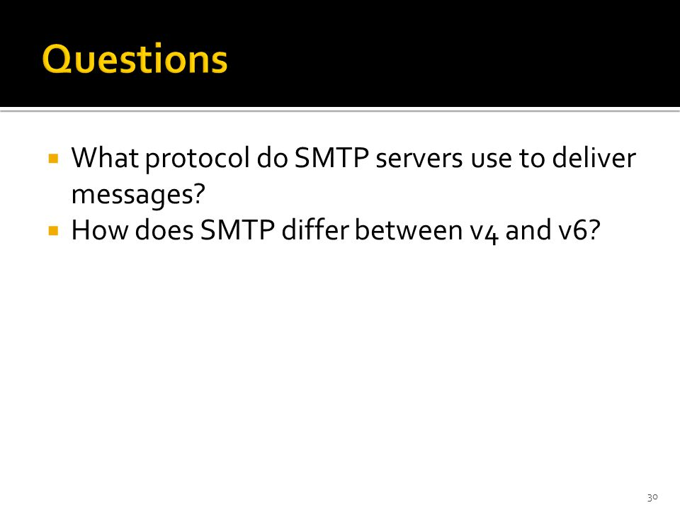  What protocol do SMTP servers use to deliver messages.