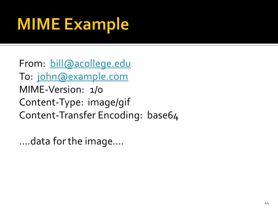 From: To: MIME-Version: 1/0 Content-Type: image/gif Content-Transfer Encoding: base64 ….data for the image….