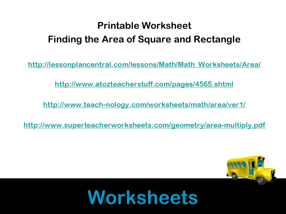 Worksheets Printable Worksheet Finding the Area of Square and Rectangle