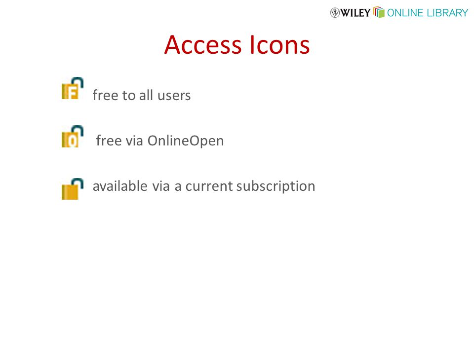 Access Icons free to all users free via OnlineOpen available via a current subscription