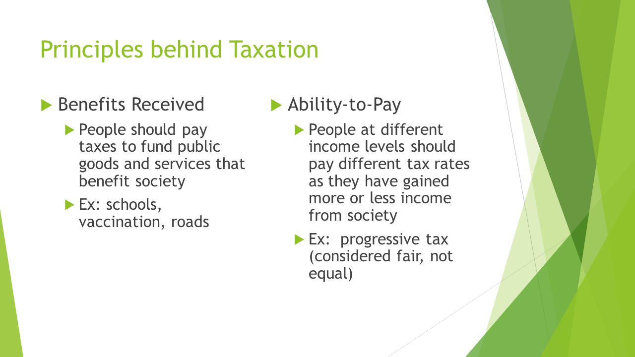 Principles behind Taxation  Benefits Received  People should pay taxes to fund public goods and services that benefit society  Ex: schools, vaccination, roads  Ability-to-Pay  People at different income levels should pay different tax rates as they have gained more or less income from society  Ex: progressive tax (considered fair, not equal)