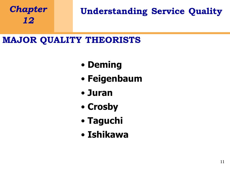 11 Chapter 12 Understanding Service Quality 11 MAJOR QUALITY THEORISTS Deming Feigenbaum Juran Crosby Taguchi Ishikawa