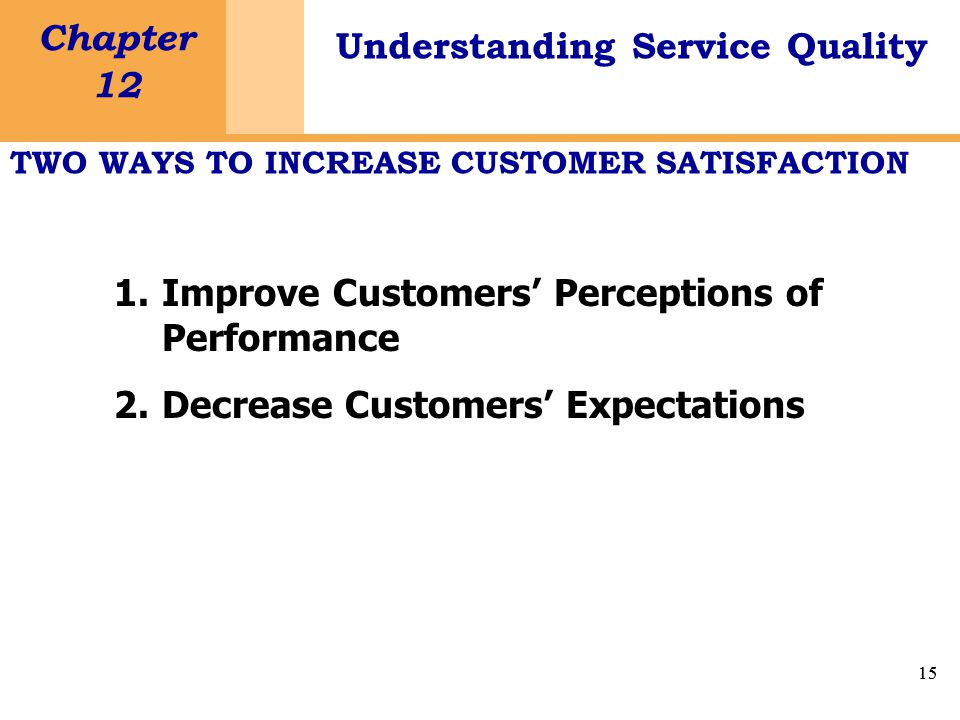 15 Chapter 12 Understanding Service Quality 15 1.Improve Customers' Perceptions of Performance 2.Decrease Customers' Expectations TWO WAYS TO INCREASE CUSTOMER SATISFACTION