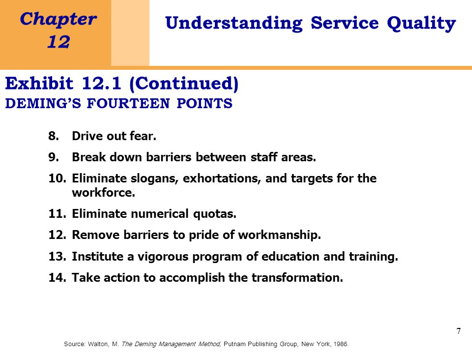 7 Chapter 12 Understanding Service Quality 7 Exhibit 12.1 (Continued) DEMING'S FOURTEEN POINTS 8.Drive out fear.