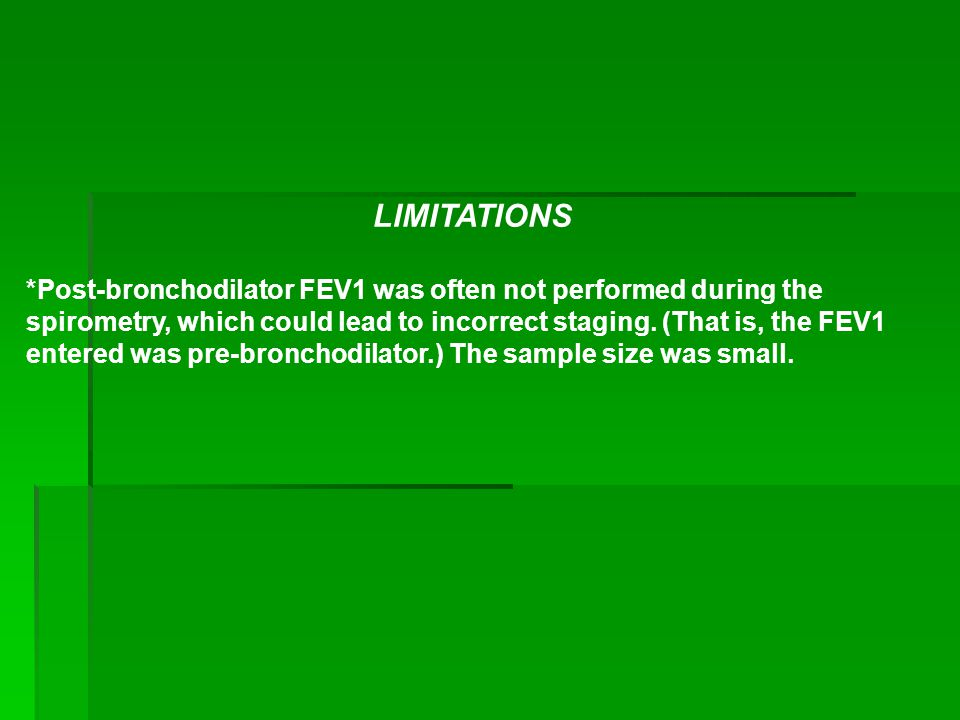 LIMITATIONS *Post-bronchodilator FEV1 was often not performed during the spirometry, which could lead to incorrect staging.
