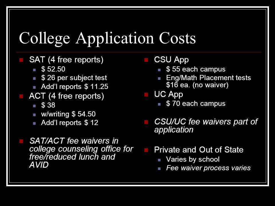 College Application Costs SAT (4 free reports) $ $ 26 per subject test Add'l reports $ ACT (4 free reports) $ 38 w/writing $ Add'l reports $ 12 SAT/ACT fee waivers in college counseling office for free/reduced lunch and AVID CSU App $ 55 each campus Eng/Math Placement tests $16 ea.