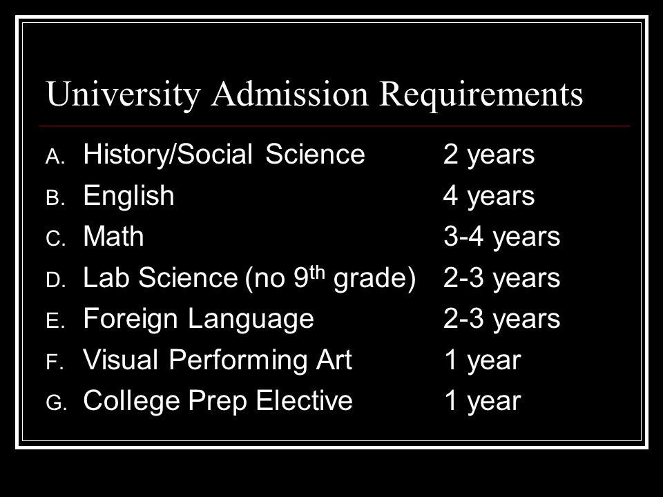 University Admission Requirements A. History/Social Science2 years B.