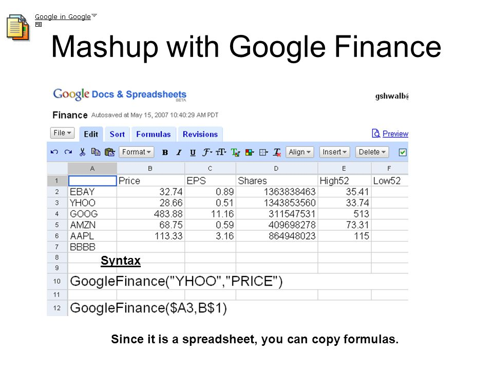 Mashup Functionality included in Google Spreadsheets Mashups