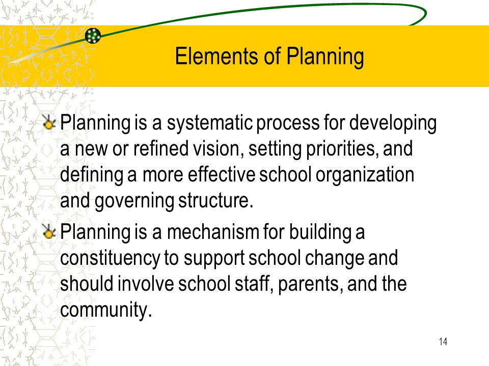 14 Elements of Planning Planning is a systematic process for developing a new or refined vision, setting priorities, and defining a more effective school organization and governing structure.