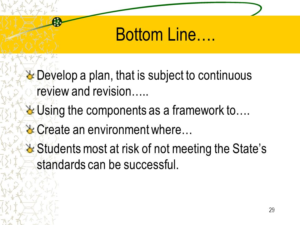 29 Bottom Line…. Develop a plan, that is subject to continuous review and revision…..