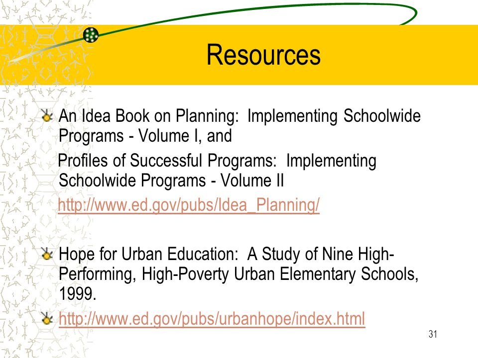 31 Resources An Idea Book on Planning: Implementing Schoolwide Programs - Volume I, and Profiles of Successful Programs: Implementing Schoolwide Programs - Volume II   Hope for Urban Education: A Study of Nine High- Performing, High-Poverty Urban Elementary Schools, 1999.