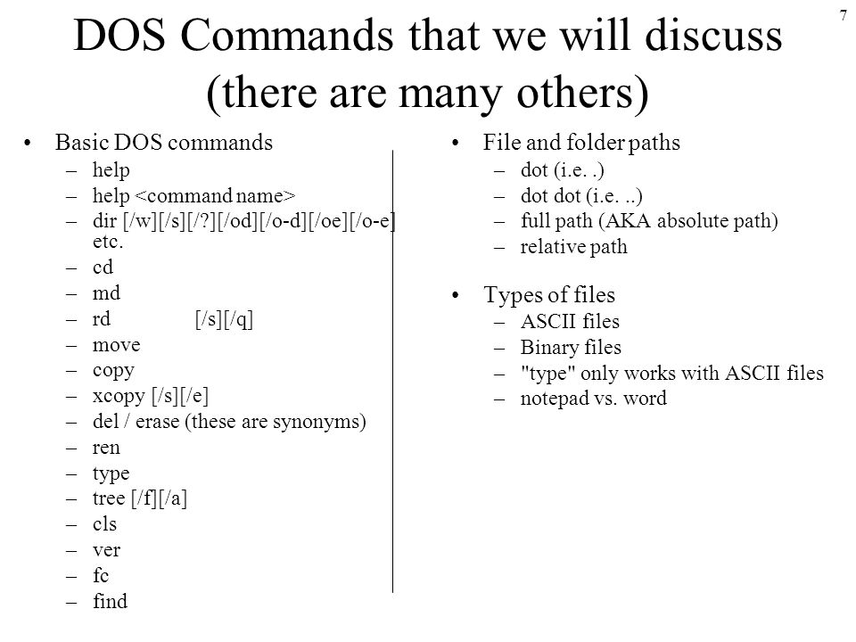 1 Windows Command Line Interface Aka Dos Commands Prof Yitzchak