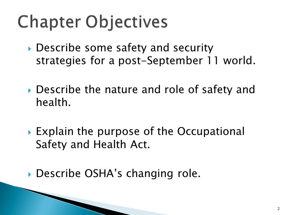  Describe some safety and security strategies for a post-September 11 world.