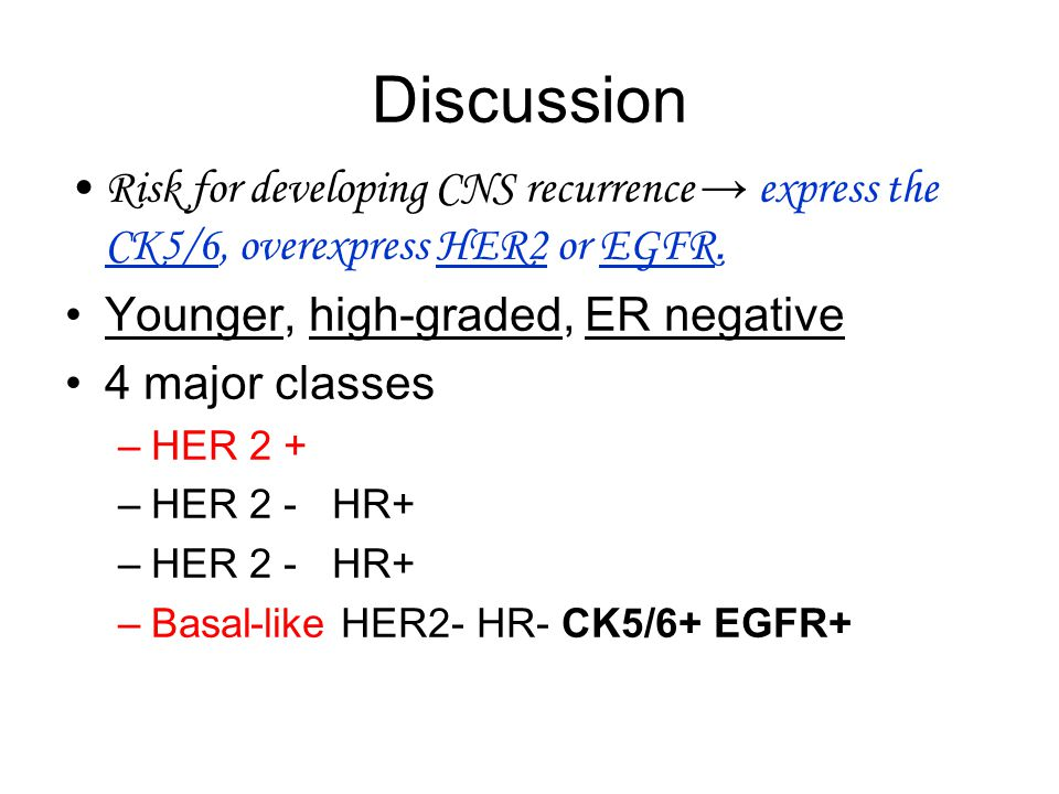 Discussion Risk for developing CNS recurrence → express the CK5/6, overexpress HER2 or EGFR.