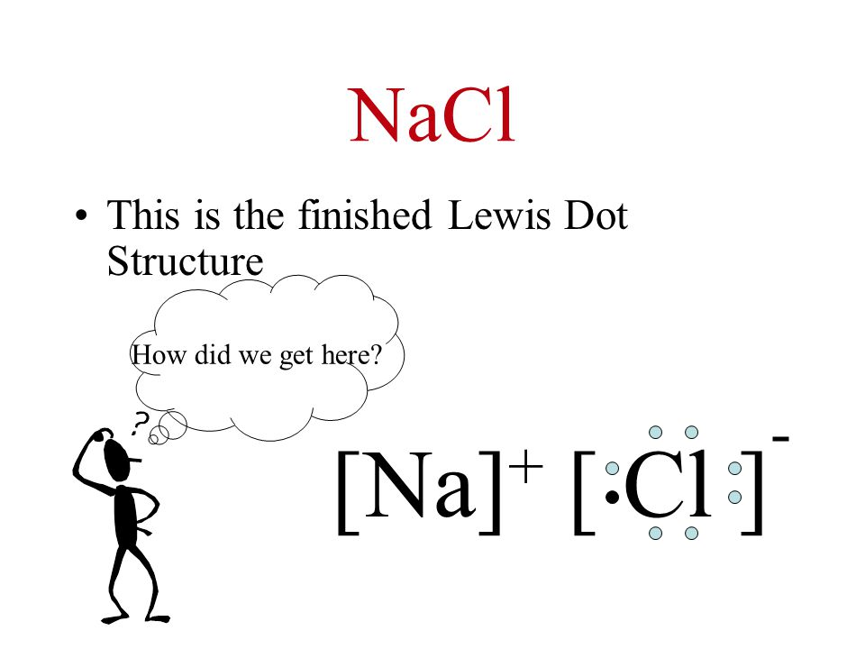 NaCl This is the finished Lewis Dot Structure [Na] + [ Cl ] - How did we get here