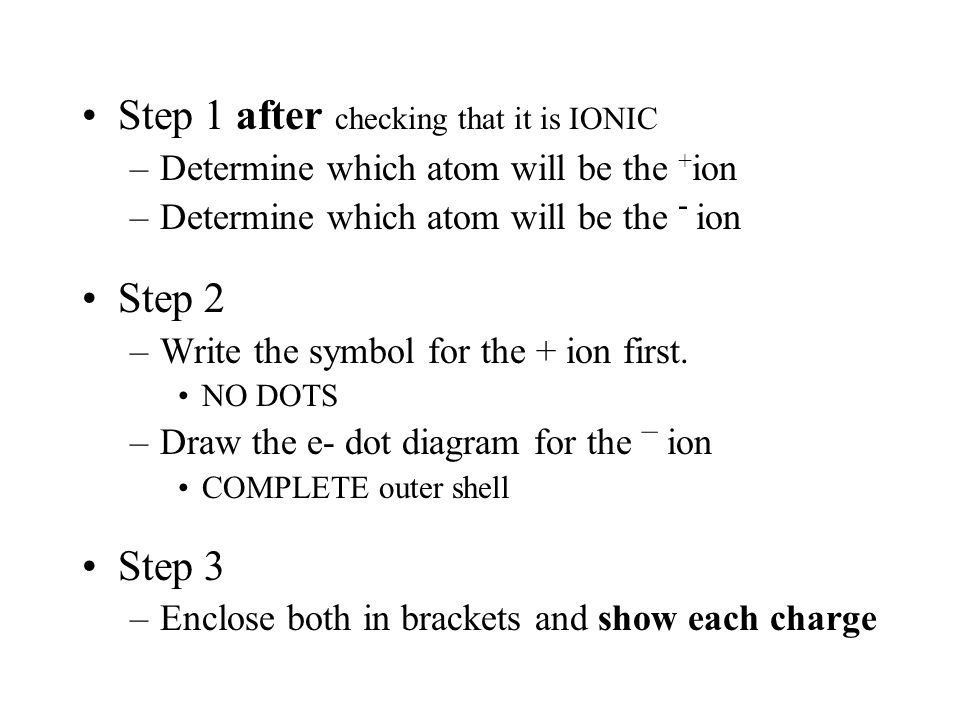 Step 1 after checking that it is IONIC –Determine which atom will be the + ion –Determine which atom will be the - ion Step 2 –Write the symbol for the + ion first.