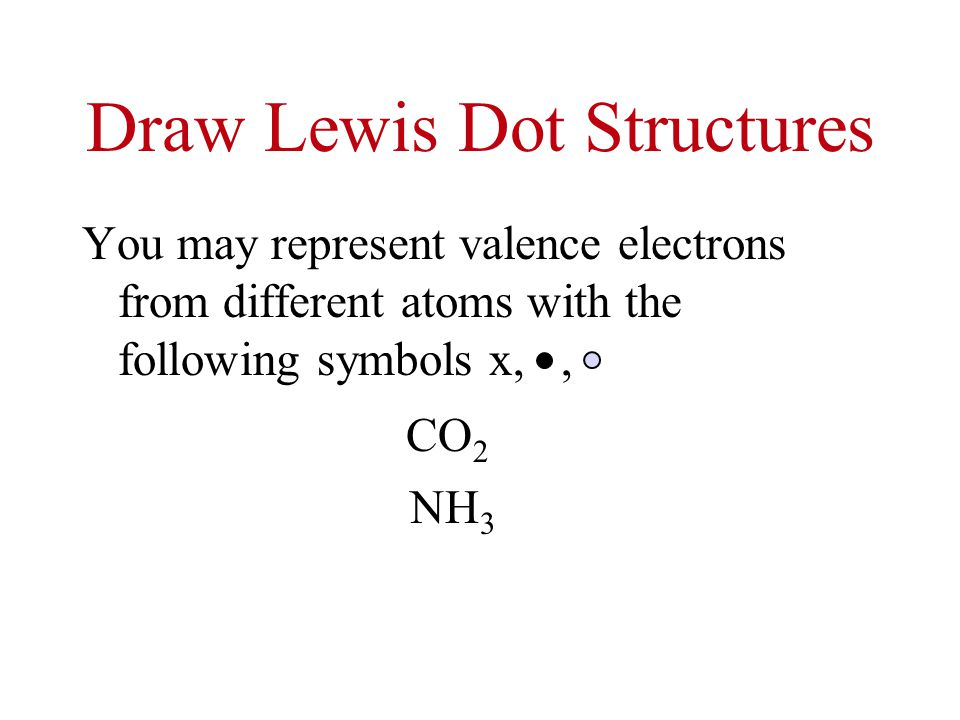 Draw Lewis Dot Structures You may represent valence electrons from different atoms with the following symbols x,, CO 2 NH 3