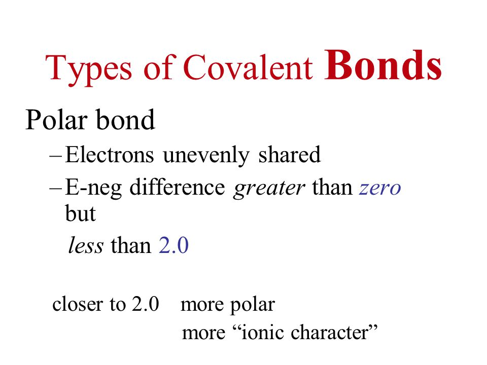 Types of Covalent Bonds Polar bond –Electrons unevenly shared –E-neg difference greater than zero but less than 2.0 closer to 2.0 more polar more ionic character