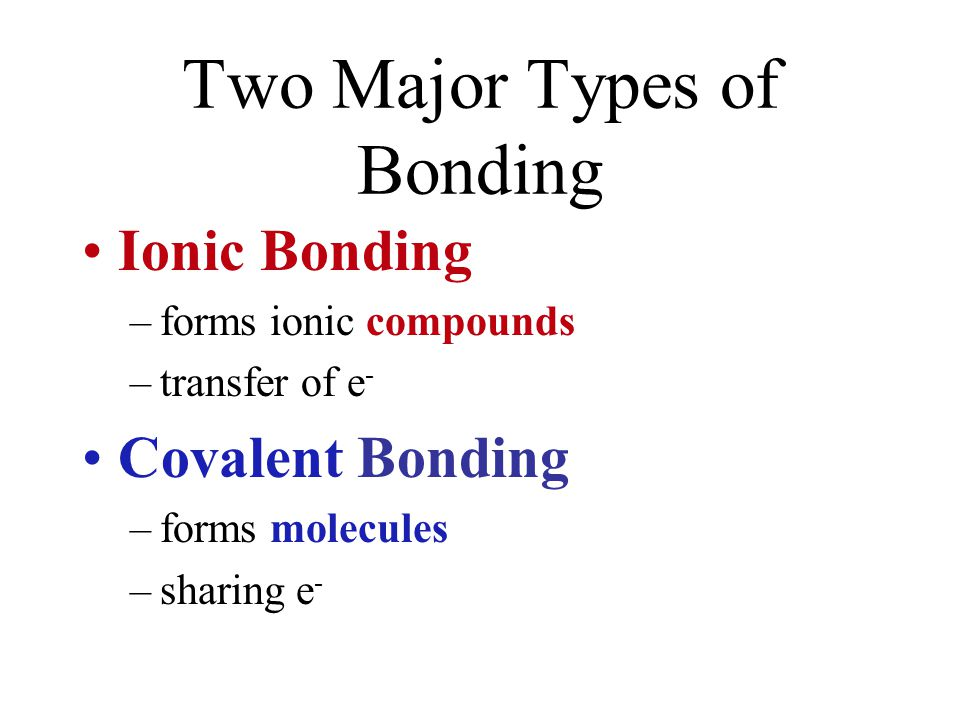Two Major Types of Bonding Ionic Bonding –forms ionic compounds –transfer of e - Covalent Bonding –forms molecules –sharing e -