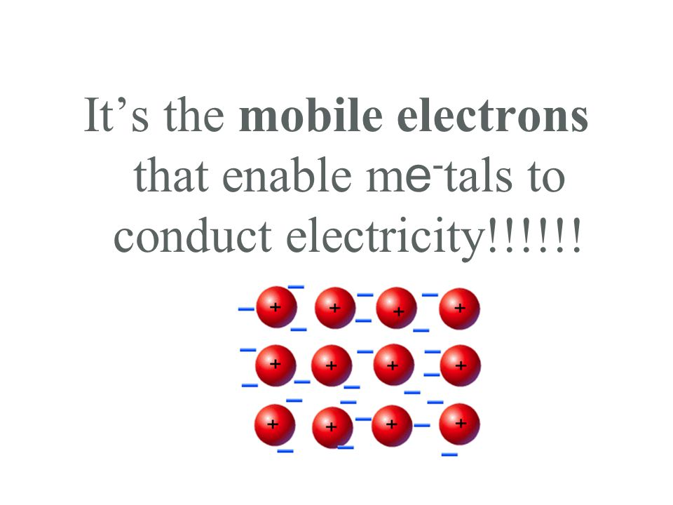 It's the mobile electrons that enable m e - tals to conduct electricity!!!!!!