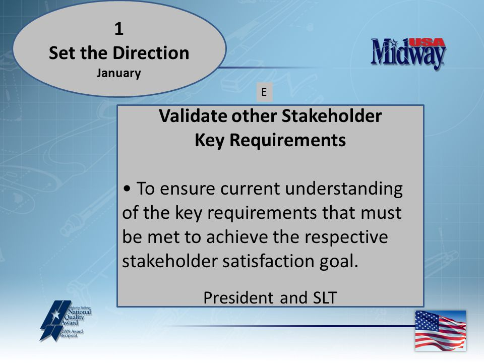 Validate other Stakeholder Key Requirements To ensure current understanding of the key requirements that must be met to achieve the respective stakeholder satisfaction goal.