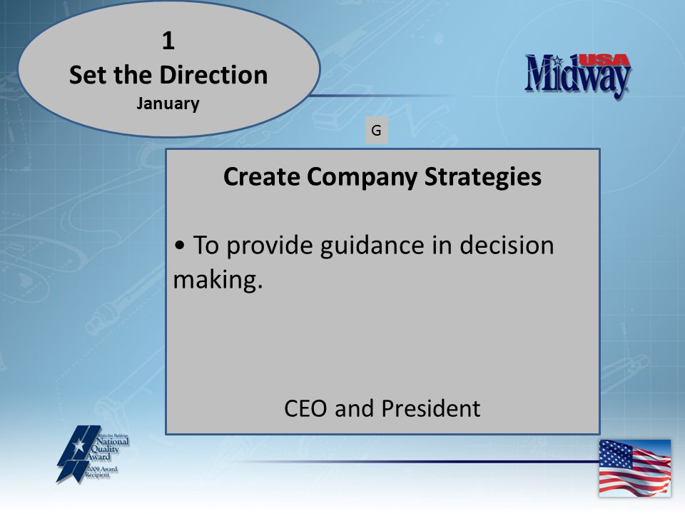 Create Company Strategies To provide guidance in decision making.