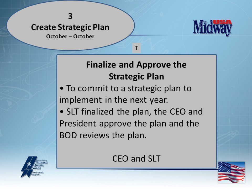 3 Create Strategic Plan October – October Finalize and Approve the Strategic Plan To commit to a strategic plan to implement in the next year.