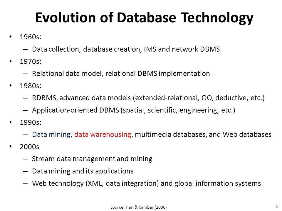 6 Evolution of Database Technology 1960s: – Data collection, database creation, IMS and network DBMS 1970s: – Relational data model, relational DBMS implementation 1980s: – RDBMS, advanced data models (extended-relational, OO, deductive, etc.) – Application-oriented DBMS (spatial, scientific, engineering, etc.) 1990s: – Data mining, data warehousing, multimedia databases, and Web databases 2000s – Stream data management and mining – Data mining and its applications – Web technology (XML, data integration) and global information systems Source: Han & Kamber (2006)