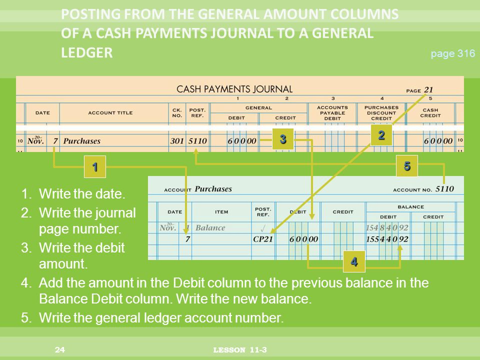 24LESSON 11-3 page Add the amount in the Debit column to the previous balance in the Balance Debit column.