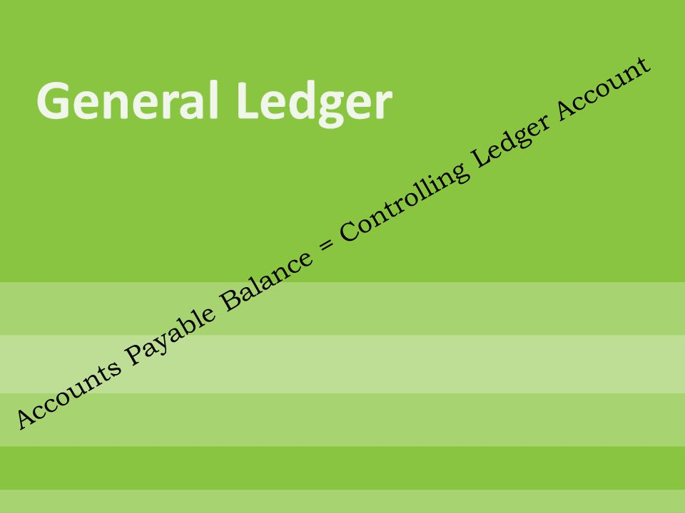 Accounts Payable Balance = Controlling Ledger Account