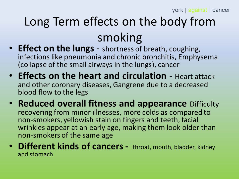 Long Term Effects Of Smoking >> The Long Term Effects Of Smoking Year 6 York Against Cancer