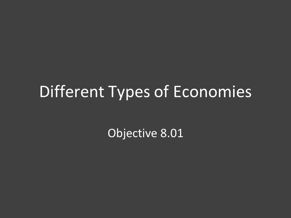 Different Types of Economies Objective 8.01