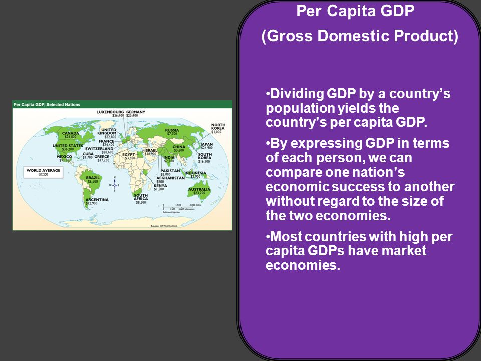 Per Capita GDP (Gross Domestic Product) Dividing GDP by a country's population yields the country's per capita GDP.