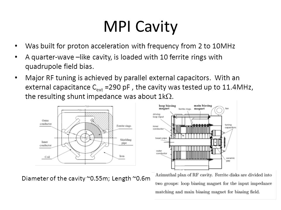 MPI Cavity Was built for proton acceleration with frequency from 2 to 10MHz A quarter-wave –like cavity, is loaded with 10 ferrite rings with quadrupole field bias.