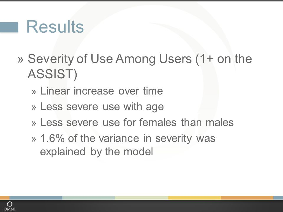 Results  Severity of Use Among Users (1+ on the ASSIST)  Linear increase over time  Less severe use with age  Less severe use for females than males  1.6% of the variance in severity was explained by the model