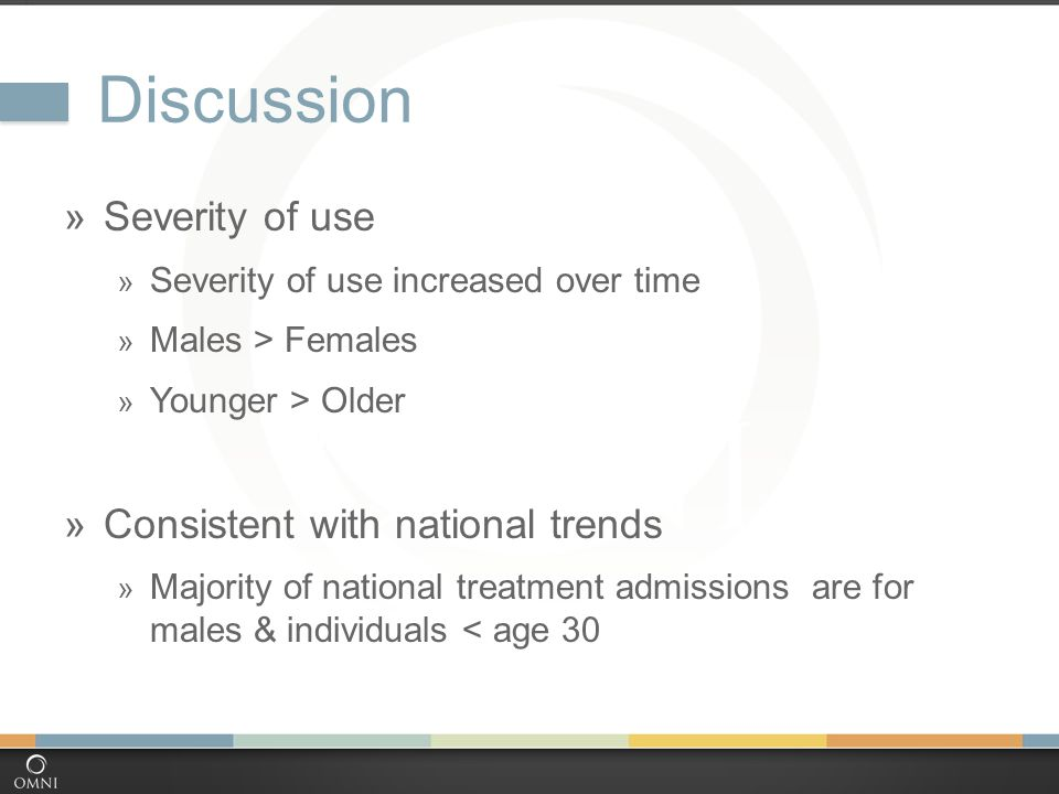 Discussion  Severity of use  Severity of use increased over time  Males > Females  Younger > Older  Consistent with national trends  Majority of national treatment admissions are for males & individuals < age 30