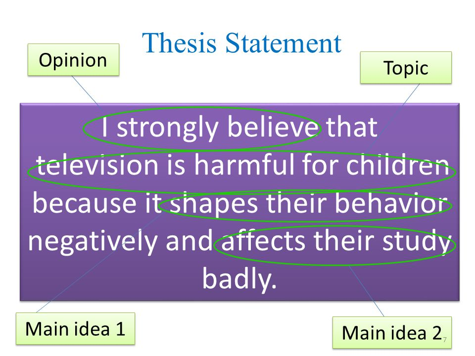 Thesis Statement I strongly believe that television is harmful for children because it shapes their behavior negatively and affects their study badly.