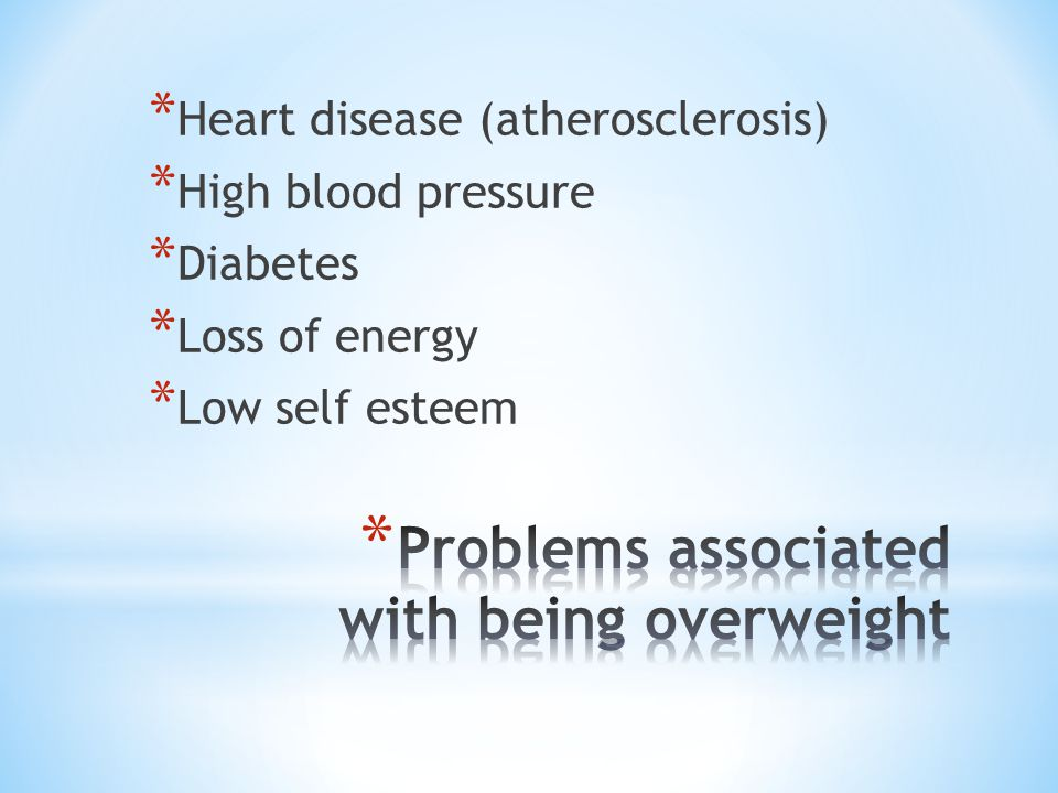 * Heart disease (atherosclerosis) * High blood pressure * Diabetes * Loss of energy * Low self esteem