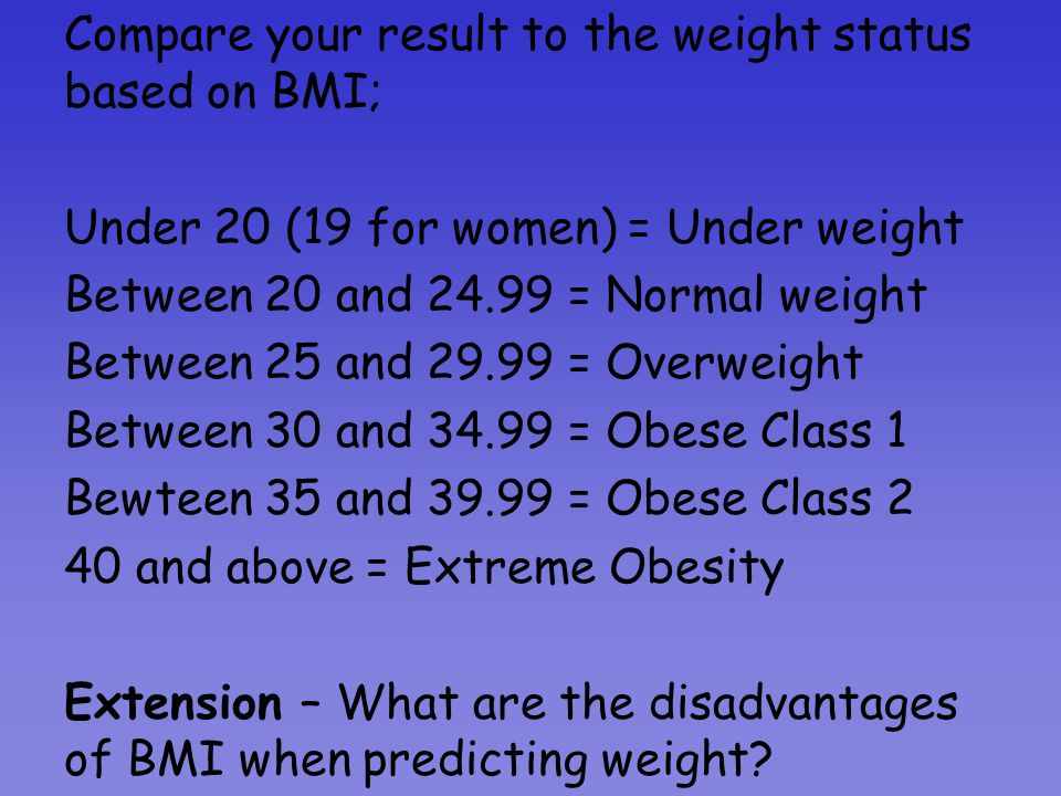 Calculating Body Mass Index (BMI) Body Mass Index (BMI) is used to